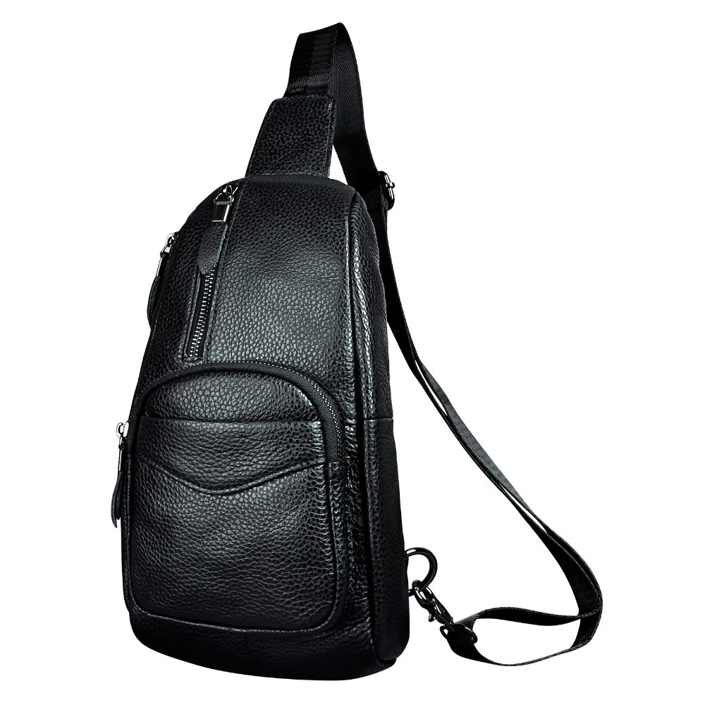 Men Real Leather Casual Fashion Waist Pack Chest Bag Sling Bag One Shoulder Bag Crossbody Bag Daypack For Male 8012