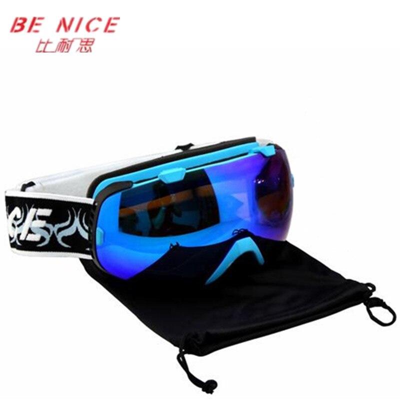 Prix pour Benice snowboard lunettes professionnel marque double anti-buée ski lunettes 2016 hiver neige motocross Coupe-Vent lunettes gozluk