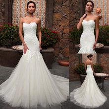 תחרה מתוקה מחשוף בת ים חתונת שמלה עם תחרת אפליקציות טול כלה שמלת vestidos de noivas