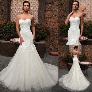 Image 1 - Dantel Sevgiliye Boyun Çizgisi Mermaid düğün elbisesi Dantel Aplikler Tül Gelin Elbise vestidos de noivas