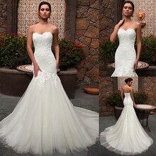 Robe de mariée en dentelle, encolure mignon, style sirène, en Tulle, Appliques en dentelle, robe de mariée