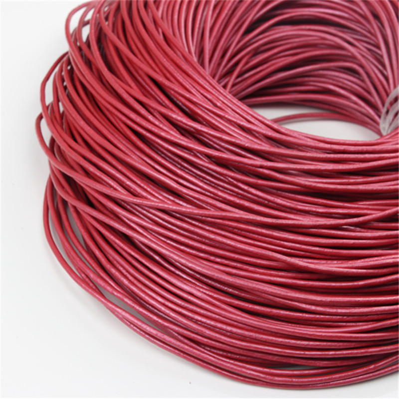2mm Round Leather Jewellery Cord Pearl Coloured
