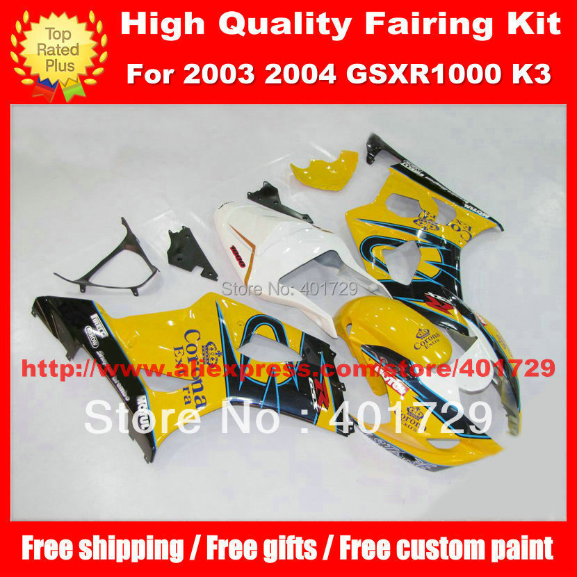 Motorcycle Parts for SUZUKI GSXR 1000 2003 2004 GSXR1000 03 04 K3 yellow Corona high grade body work