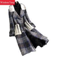 Зимнее теплое пальто синяя овечья шерсть норковый мех мозоли пальто женские твидовые клетчатые оверсайз длинные шерстяные пальто женская