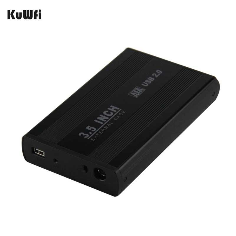KuWFi 3,5 pulgadas USB 2,0 SATA disco duro externo disco Disco Duro carcasa de la cubierta de la caja de almacenamiento externo soporte de la caja de disco duro hasta 1 TB
