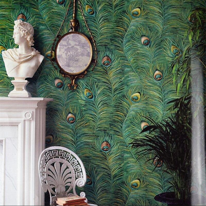 Style sud-est asiatique paon plume papier peint salon chambre TV fond papier peint haut de gamme paon plume papier peint