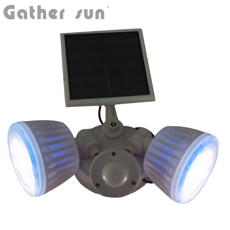 Solar PIR Sensor Light Outdoor IP44 Waterproof White ABS Body Spotlight Solar Power Source Security Lamp For House/Yard Lighting