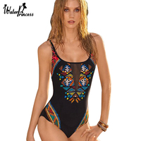 2017 New Arrical Sexy Monokini Mesh One Piece Swimwear Swimsuit Backless Padded Bathing Suit Strappy Sport