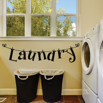Creative Laundry Room Decoration Wall Sticker Bathroom Background Home Decoration Mural Art Decals Wallpaper Letters Stickers Leather Bag