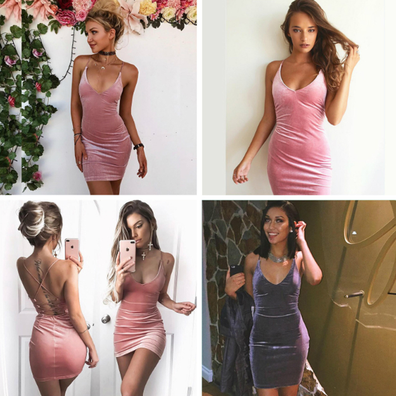HTB1Q9YGPFXXXXc6XFXXq6xXFXXXv - Sexy V Neck Spaghetti Strap Women Bodycon Mini Velvet Dress JKP270