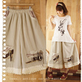 New 2016 women'sForest Girl Style Loose  Vintage Loose Solid Color Fluid Culottes Wide Leg Pants Lolita Mori Girl D139
