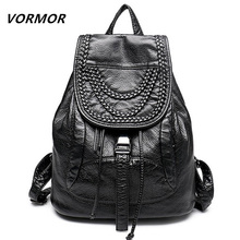 2016 Genuine Leather women backpack fashion Knitting and Rivets backpacks for teenage girls black casual travel school bag
