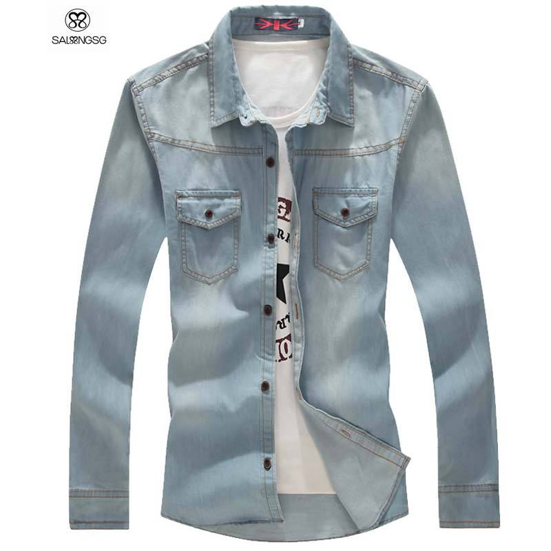 5eedcaa7087 Luxury Brand Men Denim Shirt Men s Denim Shirts Long Sleeve XXXL Slim Fit  Big Size Mens Clothing-in Casual Shirts from Men s Clothing on  Aliexpress.com ...