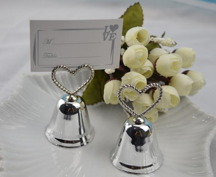 Silver Heart Bell Place Card Holder Wedding Favors With