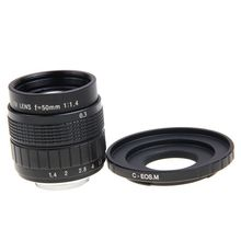 50mm F1.4 סרט טלוויזיה במעגל סגור עדשה + C הר כדי Canon EOS M EOS M2 M3 M5 M6 M10 ראי