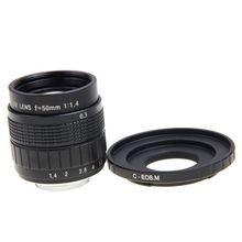 Fujian 50mm f1.4 cctv lente filme + c monte a canon eos m eos m2 m3 m5 m6 m10 mirrorless