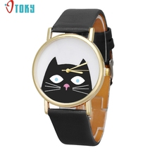 Watch OTOKY Willby Black Cat Face Watch Men Women PU Leather Quartz Dial Wrist Watches 161213 Drop Shipping