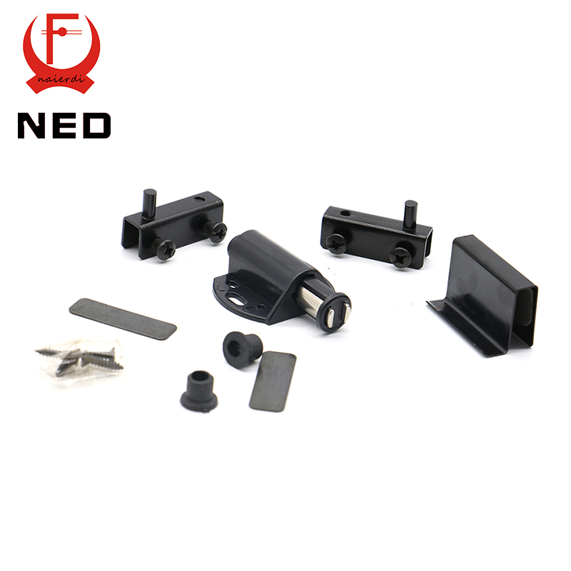 10set Ned 8007 Single Black Cabinet Door Stopper Glass Magnetic Push Open Touch Catch Stop
