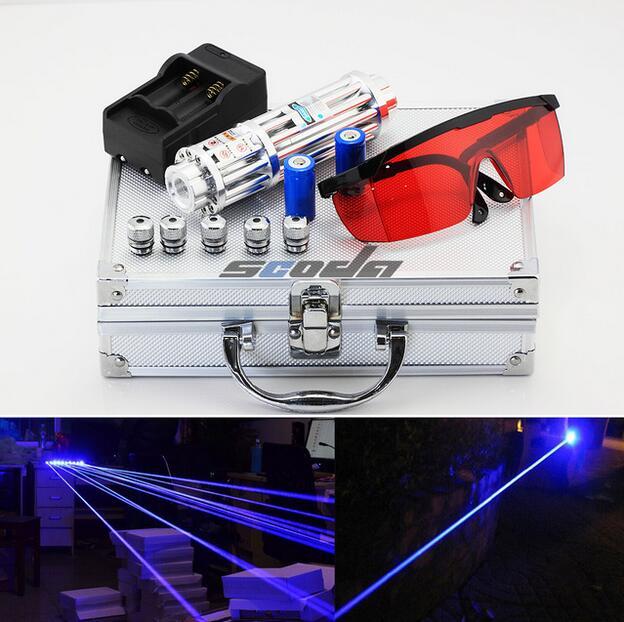 80000m Long Range Power Gatlin Blue Laser Flashlight Blue Pen Cigarette Cutting Match Laser Pointer 5 Stars