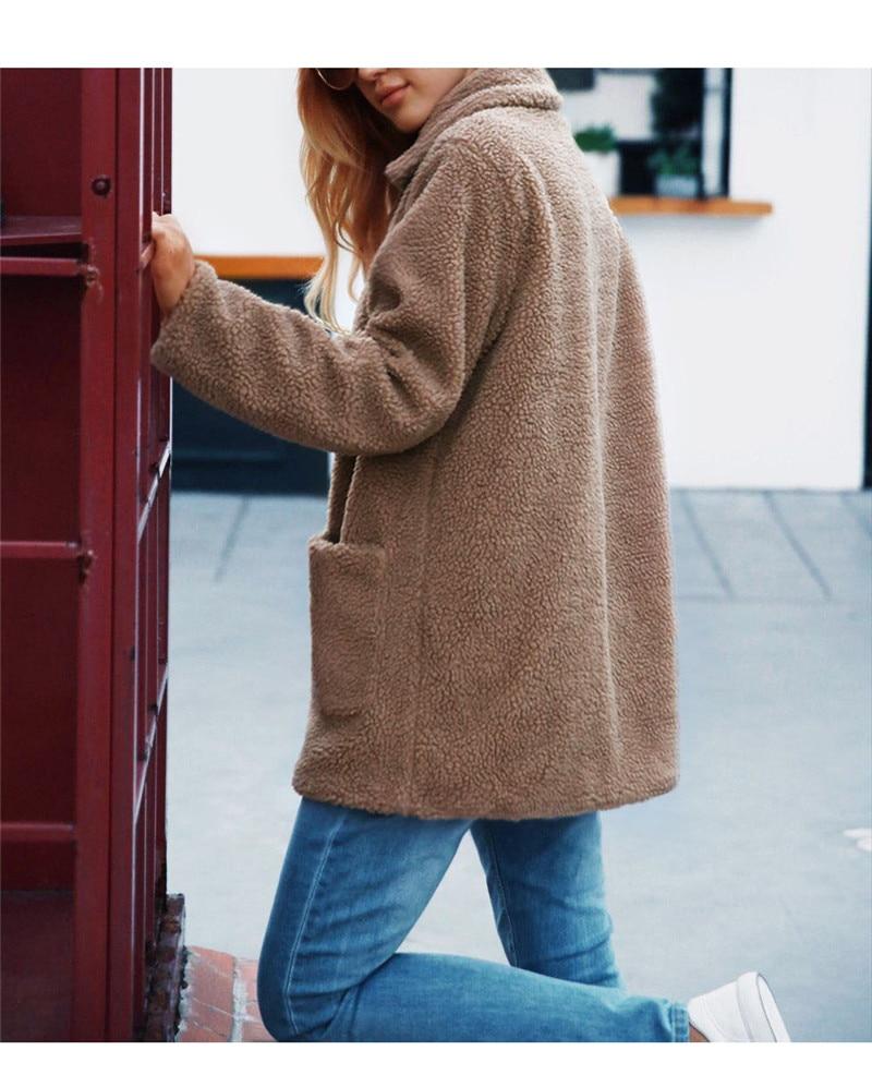 Europe and the United States street photo lapel imitation fur plush coat multi-color long wool coat (6)