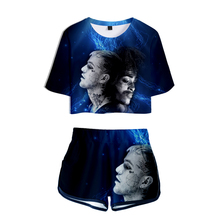 Women Two Piece Sets Summer Hip Hop Sexy Crop Tops+Shorts Fashion Famous Rappers 3D Printed Wear