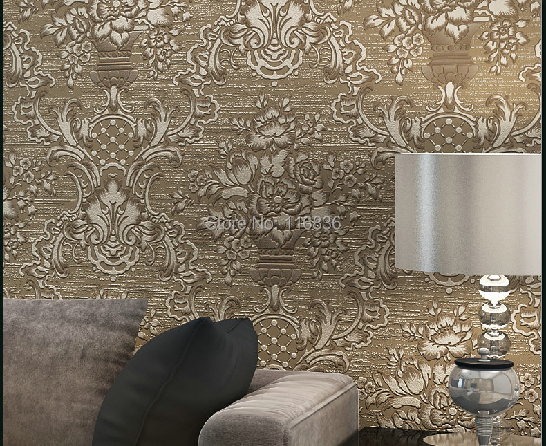 цены Wallpaper Roll Flocking  Damask Wall paper For Living Room Bedroom Sofa TV Backdrop tapete Papel De Parede Waterproof