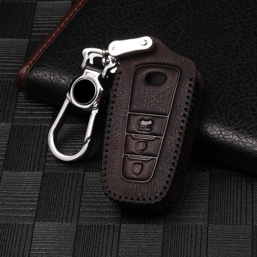 High Quality For Toyota Camry Corolla C HR CHR Prado RAV4 2018 Car Leather Key Protect Fob Smart Key Cover Holder Case 3 Button|Key Case for Car| |  - title=