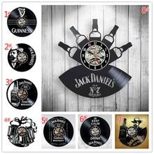 Home Living Whiskey Klassieke Wandklok Mode Decoratie Art Klok Vinyl Record Wandklokken