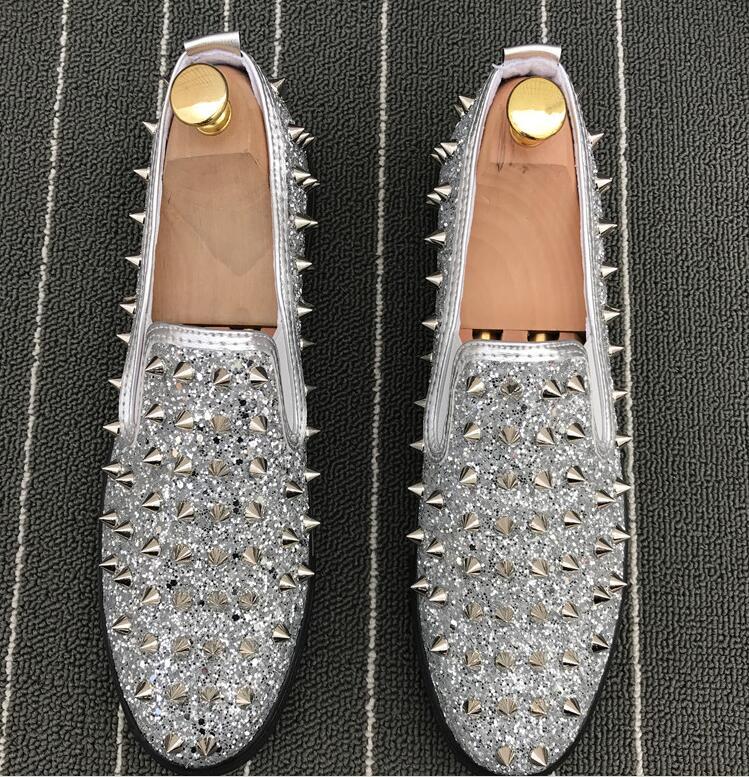 Plata Eur38 Vestir silver 43 Oro Los Zapatos Inferiores Holgazanes Spikes gold Moda Remaches León De Superior Hombres Calidad Black Diente Negro Planos Casual 6qwBEH