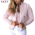 RZIV Female winter pilot women basic coats autumn jacket zipper black women bomber jacket cool biker outwear short parka
