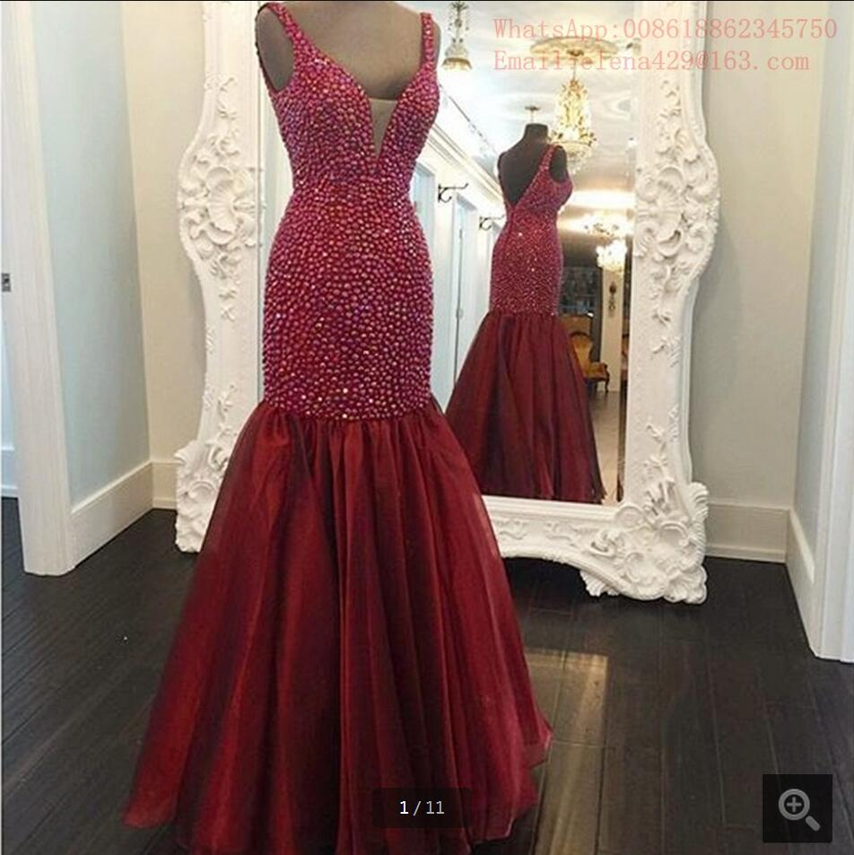 2016 New Fashion Beading Crystals Sparkly Prom Dress Real Picture Mermaid Prom Gowns Sexy Cheap Prom Dresses