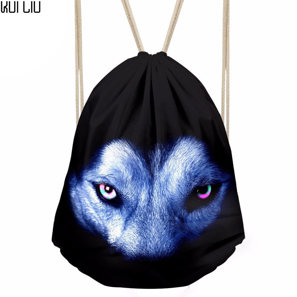 Men's Casual Drawstring Bag Animal Wolf Eyes Print Daypack Teenager Mini Beach Pouch For Kids Travel Gift Bolsos