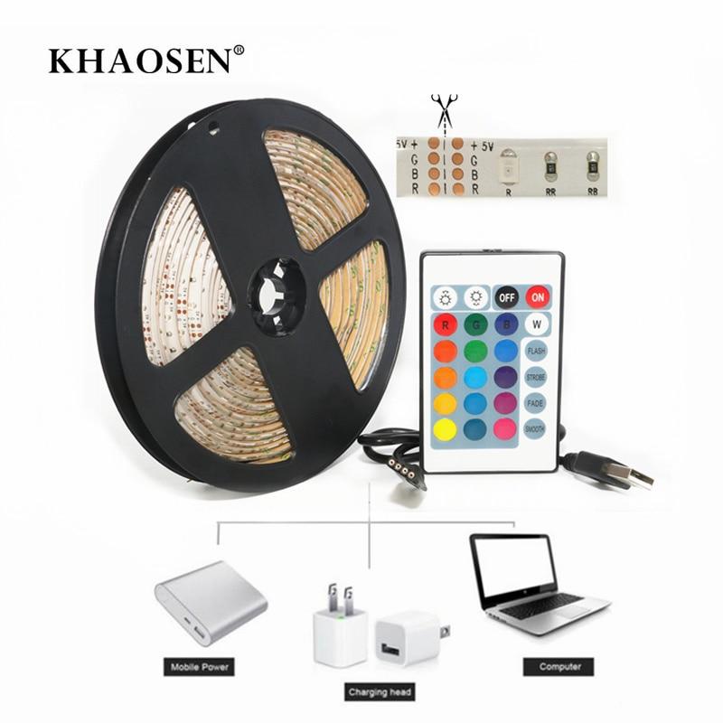DC 5V USB LED Light Strips Plug 3528/2835 SMD TV Backlight Lighting  Kit Cuttable With 24Key RF Controller Or Mini 3Key RGB LED