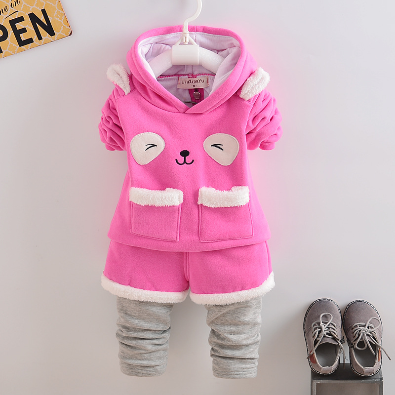 Hot Sale Autumn Baby Boys&girls Clothes Long Sleeve Thickening Hooded Top+pants 2pcs Sport Suit Baby Set Newborn Infant Clothing  europe hot sale baby girls long sleeve velvet plaid top pant suit fashion childrens casual clothes princess clothing 16d1224