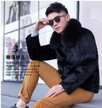 Black/Coffee Mens Winter And Autumn Rabbit Fur Jackets Male Fur Overcoats Plus Size Slim Casual Outwear Jaqueta Masculina J1376