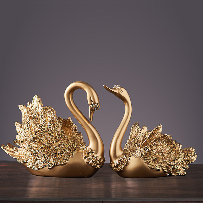 Modern Resin Swan Statue Sculpture Ornament Home Decoration Accessories Crafts TV Cabinet Office Statues For Decor