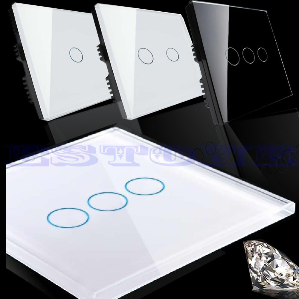 New smart touch wall control light switch crystal glass panel 1 2 3 gang 1 way