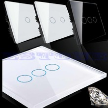 New Smart Touch Wall Control Light Switch Crystal Glass Panel 1/2/3 Gang 1 Way