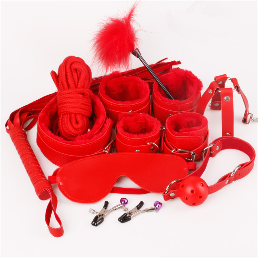 Sex Bondage Kit Set 10 Pcs Sexy Product Set Adult Games Toys Set Hand Cuffs Footcuff Whip Rope Blindfold Couples Erotic Toys 3