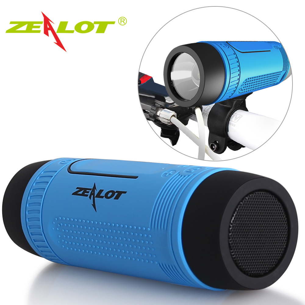 Zealot S1 Portable Column Bluetooth Speaker fm Radio Waterproof Outdoor bicycle Wireless Speaker flashlight+PowerBank+Bike Mount