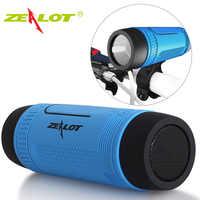 Zealot s1 bluetooth bicicleta alto-falante rádio fm portátil ao ar livre à prova dwireless água sem fio poderoso boombox + lanterna montagem da bicicleta