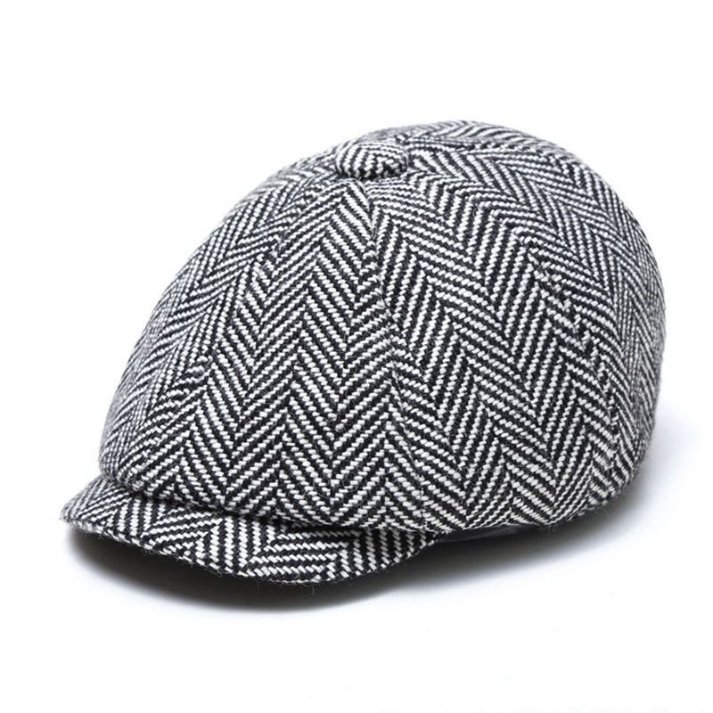 Hat 56-58cm Winter Peaked-Cap Beret Newsboy-Cap Autumn Striped Woman And 58-60cm Octagonal