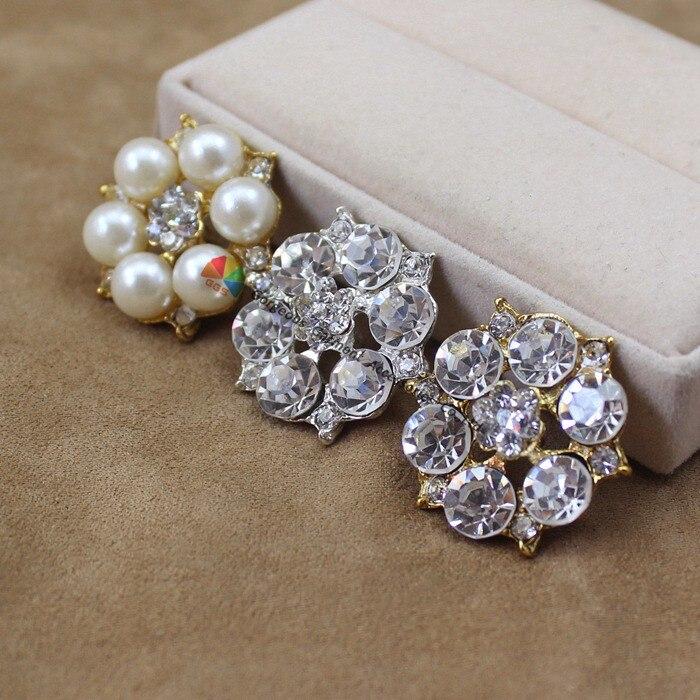 10 шт. 25 мм сплав цветок кристалл центральный части пуговица с хрусталем и жемчужиной аксессуары для browband волос ювелирные изделия свадебные приглашения