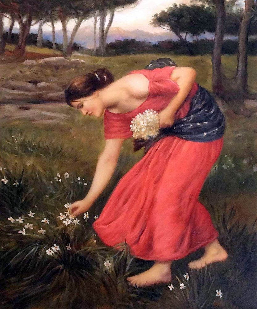 compare prices on narcissus oil online shopping buy low price 100% hand painted decorative art painting red dress w painting narcissus by john william waterhouse