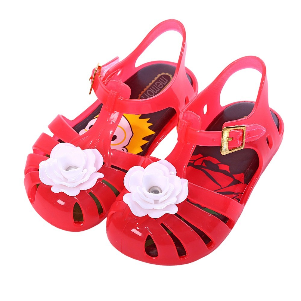 2018 Mini Melissa Rose Flower Price and Red Rose Printed New Summer Aranha Pequeno Principe Slingback Shoes PVC Kids