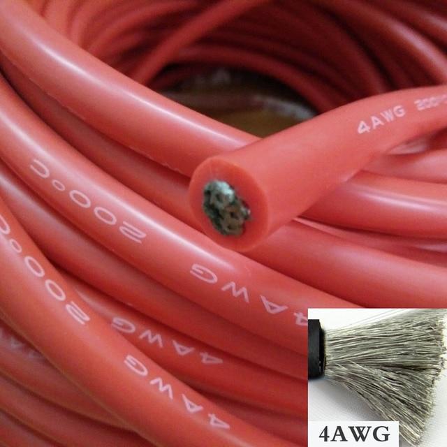 1 metro 4AWG Cavo In Silicone Morbido 25mm2 Ultra Flexiable Linea di Test Filo Rosso Nero