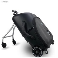 Travel tale High quality and convenient Kids scooter suitcase Lazy carry on rolling luggage ride on trolley bag for baby