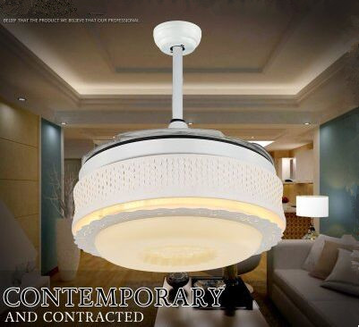 Modern European Noble Round Shaped LED Ceiling Fan Lights with Foldable Invisible Blades