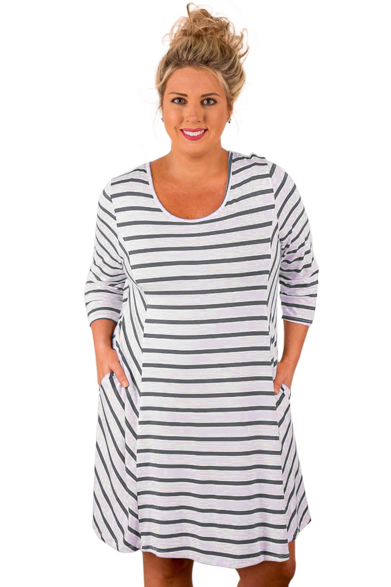 0fb4f2a58f8 Women Plus Size Loose Dress Sleeve XXXL Lady Striped T Shirt Pocket Dresses  Blue White O Neck Dress Large Sizes For Big Girl
