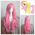 D & M3258> New My Little Pony Fluttershy Longo Rosa Curly Cosplay Peruca